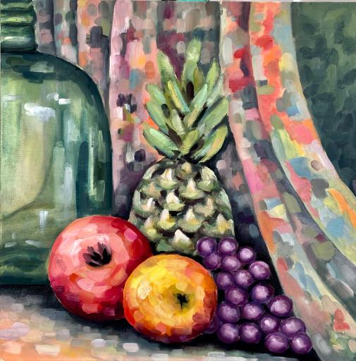 Stilleben mit Ananas – Arijana, 2020, Öl / LW