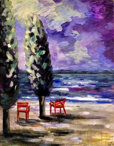 2 rote Stühle – Arijana, 2020, Öl VERKAUFT