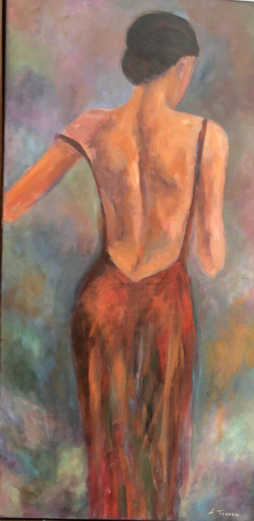 Anna Fennen –  Lady in Red 140x70 Acryl 1900€